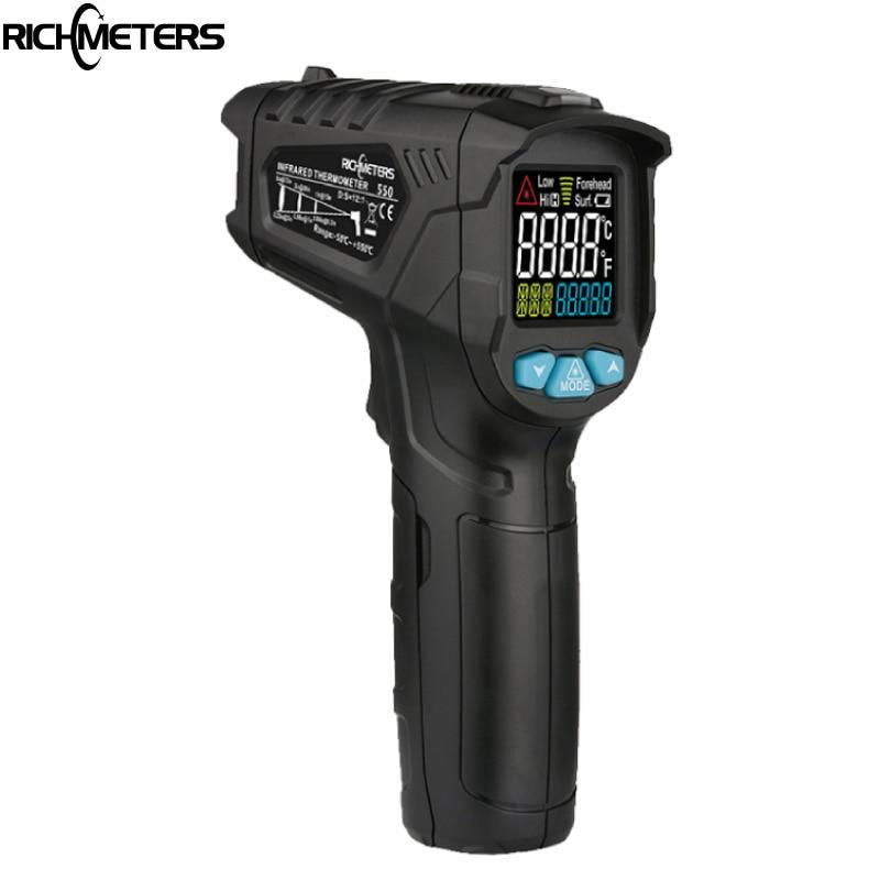 RICHMETERS 550 Digital laser Termometro a infrarossi Pistola Temperatura A CRISTALLI LIQUIDI Variopinta Dello Schermo Pirometro di Alta/Bassa Allarme di Temperatura