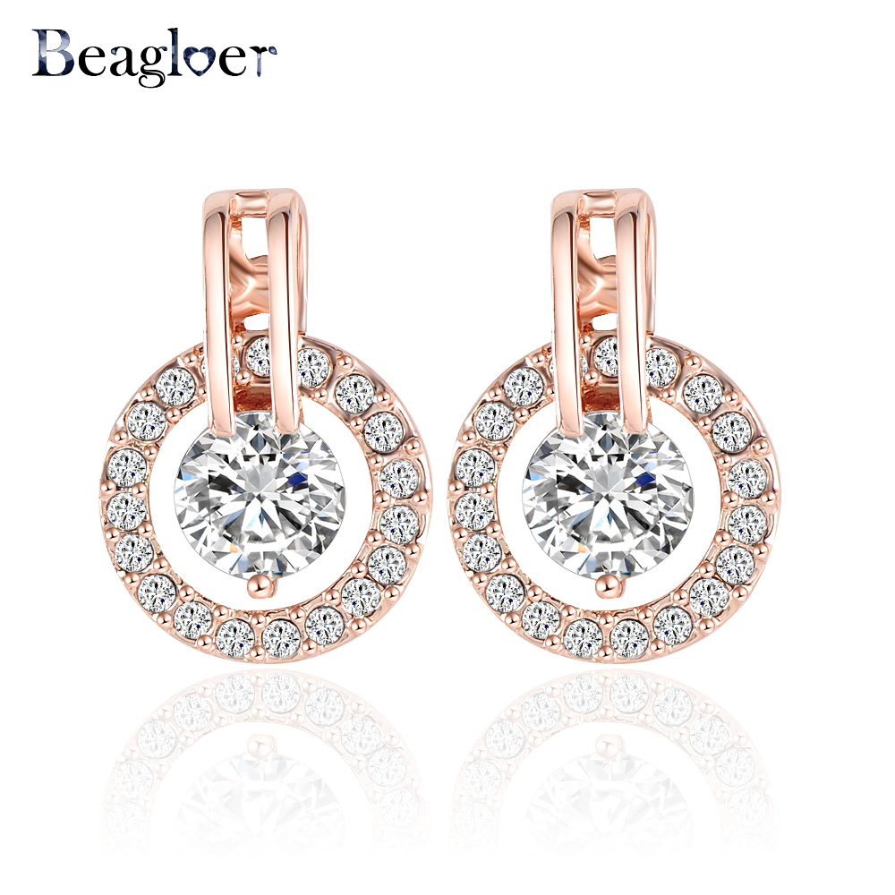 Beagloer Classic Luxury Circle Earrings Jewelry Rose Gold Plate Austrian Crystal  Elements Studs Earring ER0056-A circle