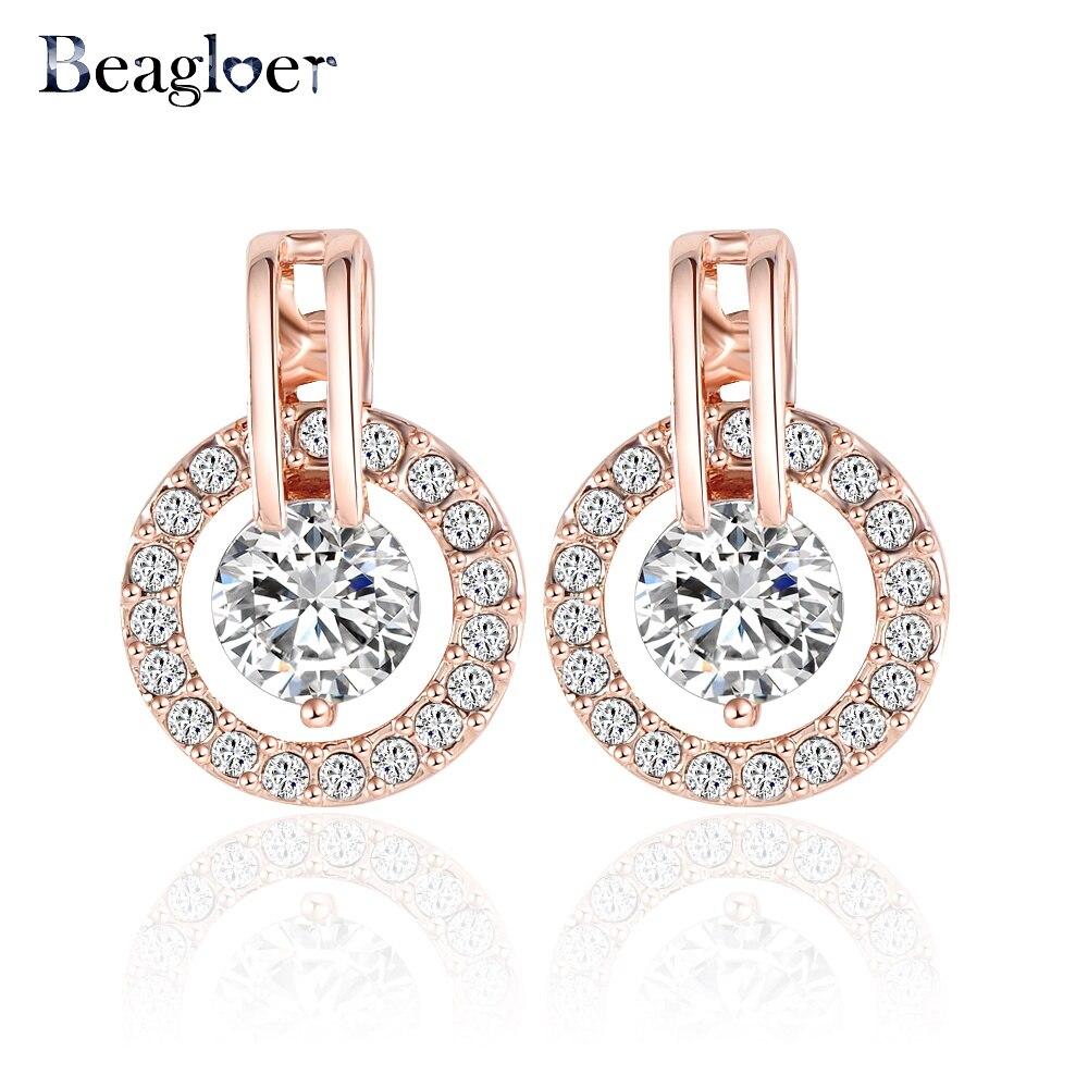 0b44bde414bf Beagloer clásico círculo de lujo Pendientes joyería oro rosa placa de  cristal austriaco elementos pendientes er0056-a