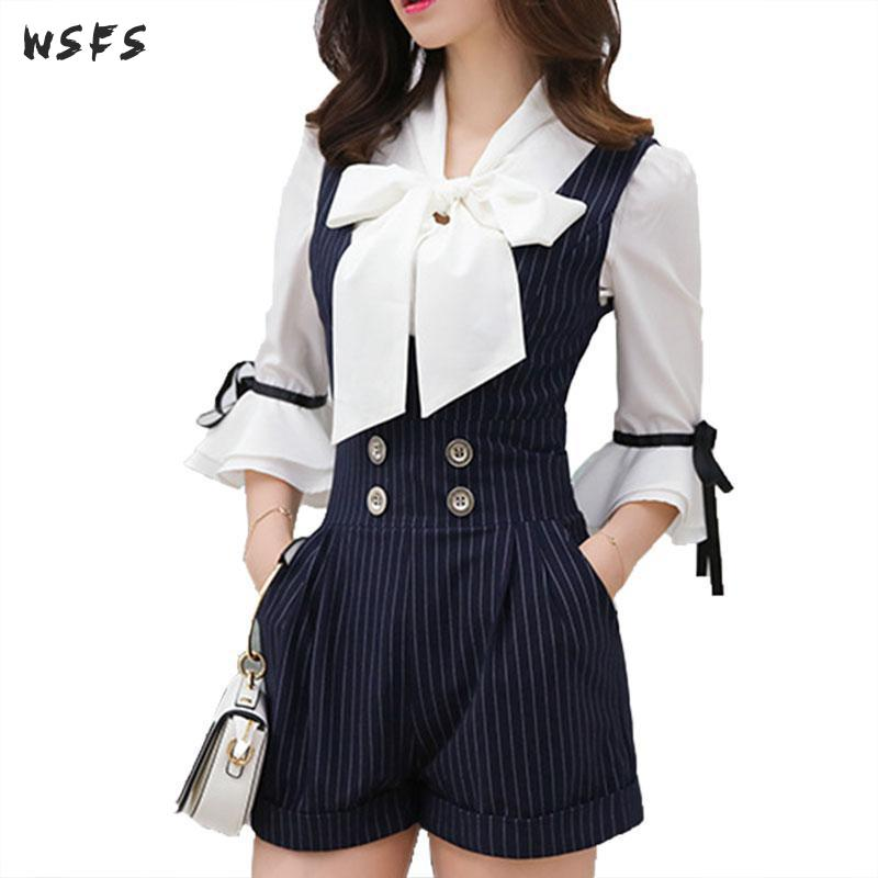 2 Piece Sets Summer White Bow Chiffon Half Sleeve Shirt Sexy Party Bandage Black Striped Overalls Shorts Sexy Party Women Dress