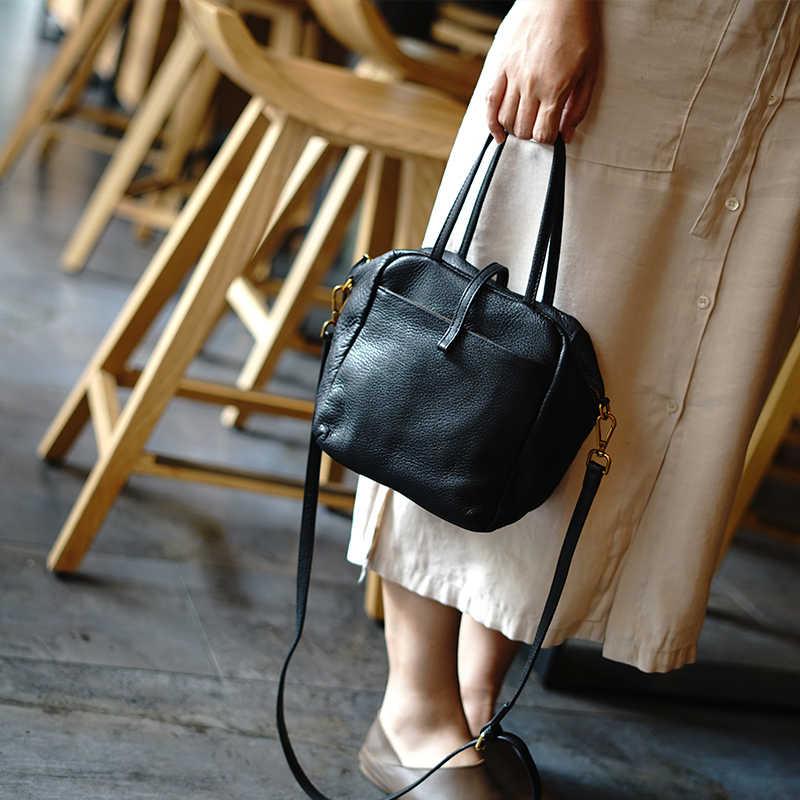 Woonam Wanita Indah Produksi Terbatas Bag Top Menyembunyikan Asli Italia Calf Kulit Kecil Zip Tote Tas WB787