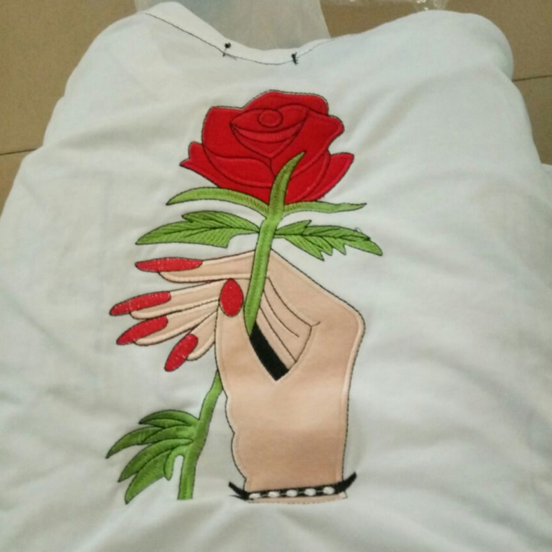 Women Couples Rose Flower Print T Shirt Summer Short Sleeve Tops Casual in T Shirts from Women 39 s Clothing