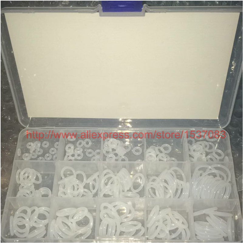 15 Sizes 225 x Food Grade Silicone Rubber O Ring O-Ring Kit Washer Seals Assortment For Car rubber seals for fluid and hydraulic systems