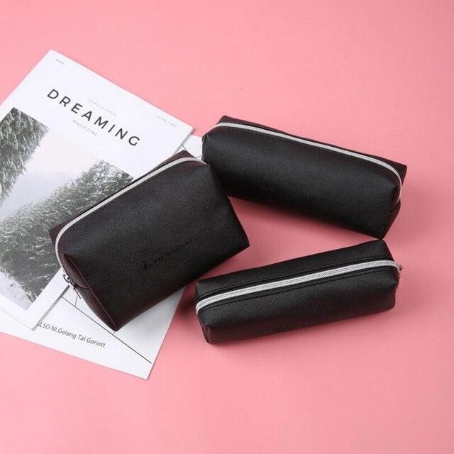 Черный пенал из искусственной кожи Школьные пеналы для девочек большой мешок карандаша школьные принадлежности Bts сумка для хранения канцелярских ручка коробка