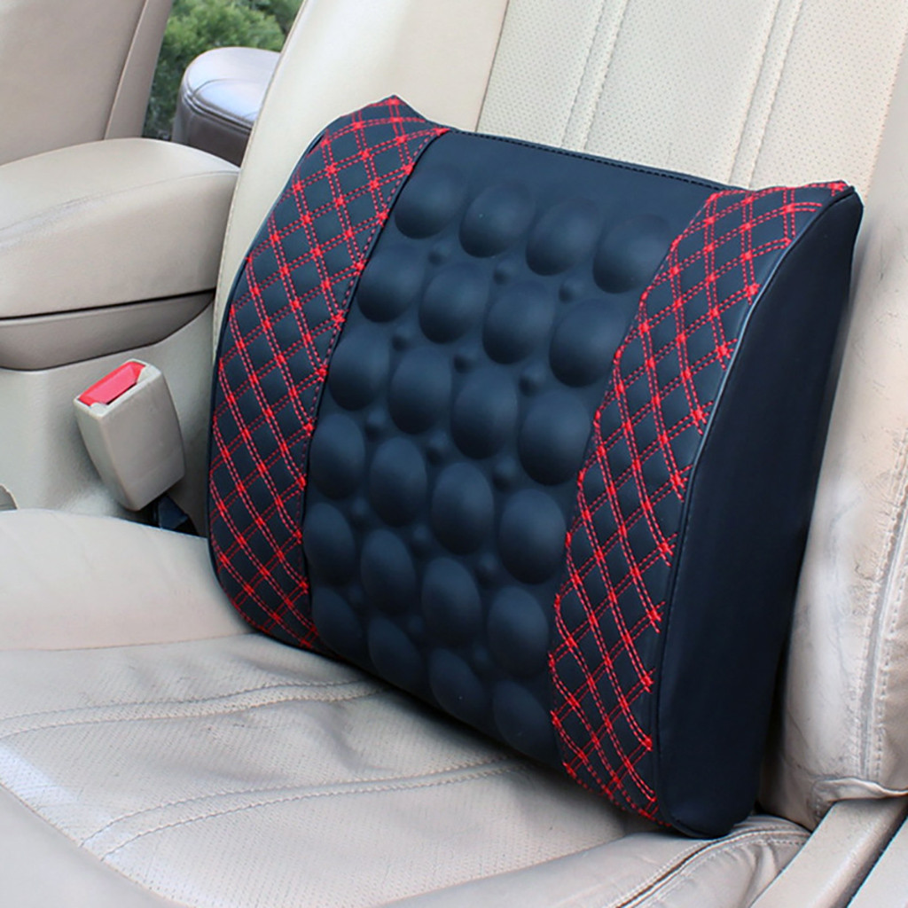 Car Massage Cushion 12V Lumbar Electric Massage Convexes Seat Back Support Waist Cushion Wire Switch for Wheelchair Office Home Etc,A