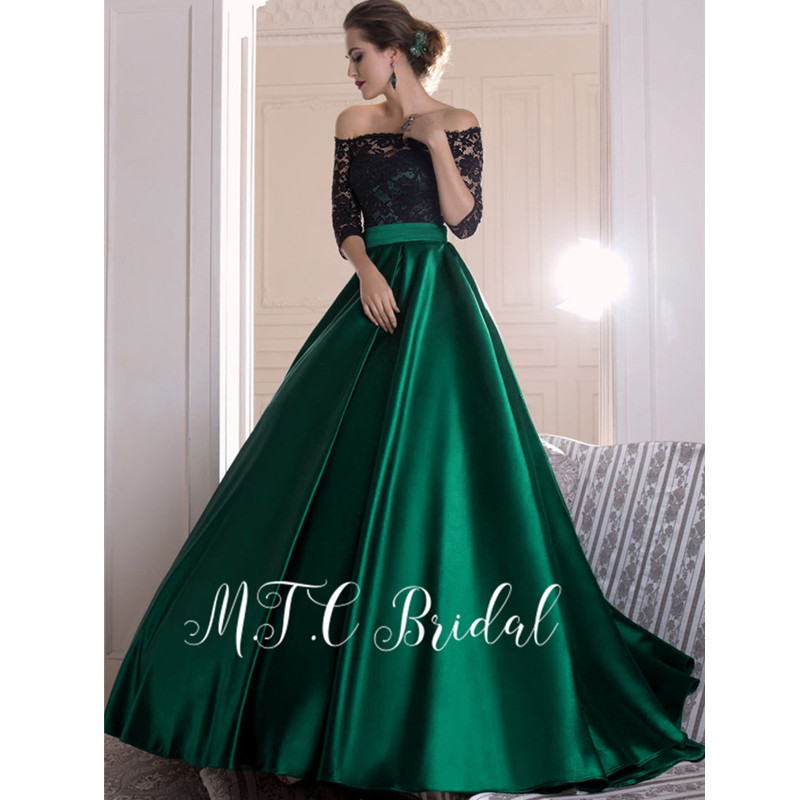 Elegant Green Long   Evening     Dress   With Half Sleeve 2019 High Quality Off The Shoulder A Line Black Lace Top Custom Made Prom Gown