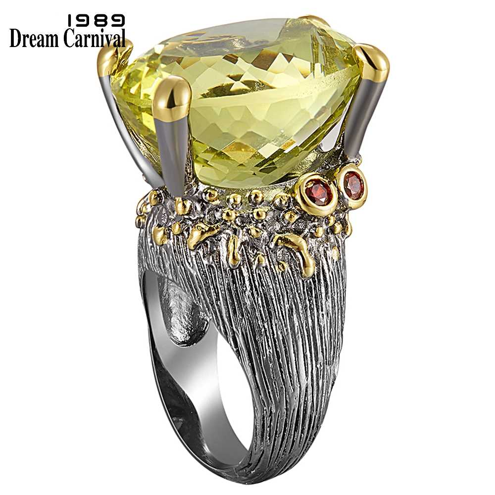 DreamCarnival 1989 Highly Recommend Hot Sell Big Ring for Women Genuine Cut Olivine Oval Zircon Must Have Party Jewelry WA11616
