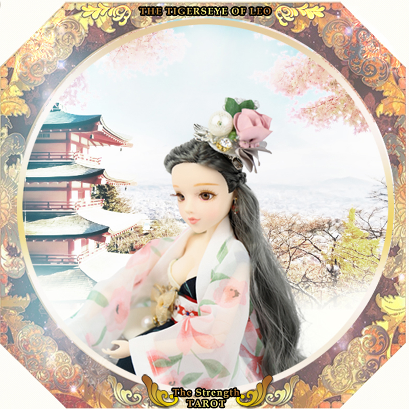 BJD 1 6 doll MMGirl Tarot Series 30cm Joint body doll Name is The Strength Grey