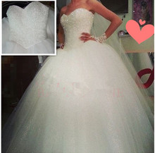 Free shipping Vestido De Noiva Sexy Vintage Princess Crystal Wedding Dress 2015 Ball Gown Bridal Robe Marriage Casamento