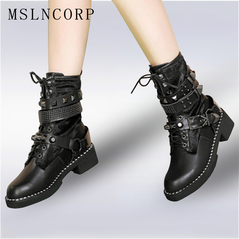 plus size 34-43 New Fashion Black Rivet Punk Genuine Leather Ankle Boots Flats Round Toe Buckle lace up Martin Boots Women Shoes women martin boots 2017 autumn winter punk style shoes female genuine leather rivet retro black buckle motorcycle ankle booties
