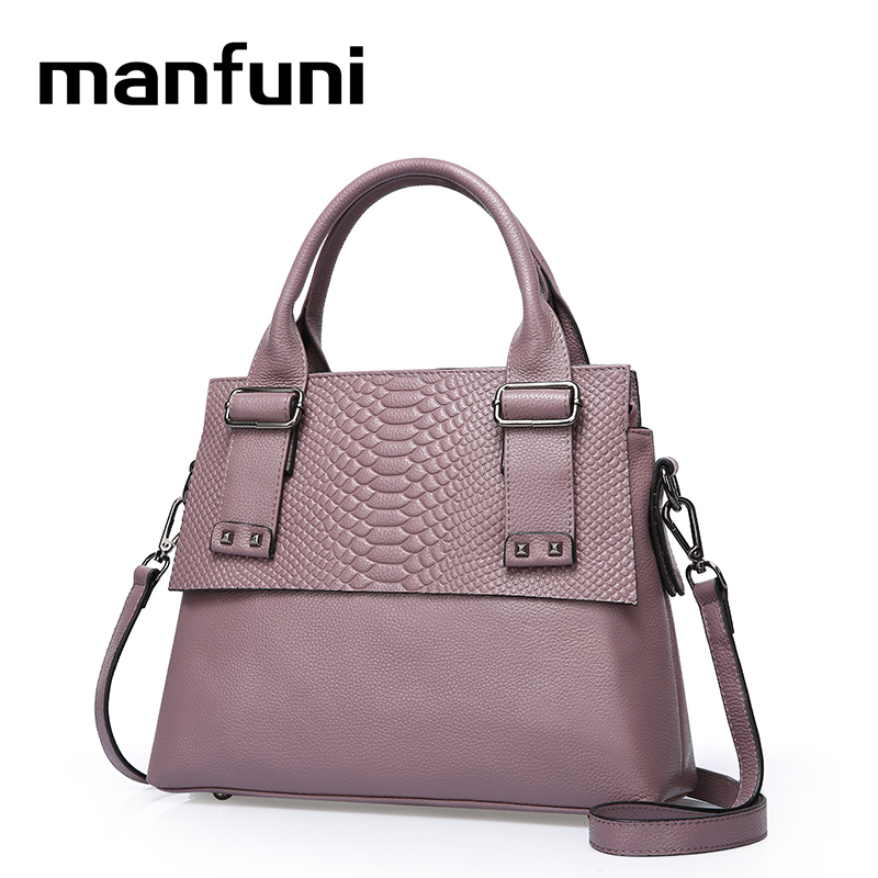 MANFUNI Genuine Leather Serpentine Patchwork Shoulder Bags Women Messenger Bags Handbags Cowhide