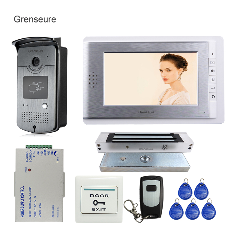 Free Shipping Wired 7 Color Video Door Phone Intercom + RFID Access Door Camera + 1 Monitor + Electric Magnetic Lock In Stock free shipping brand new wired 7 color home video door phone doorbell intercom system 1 rfid access camera 1 monitor in stock