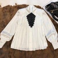 Новый женский фонарь рукав Ромбический сложенный кленовый лист плетеный пояс украшение дворец Ветер белая шелковая рубашка