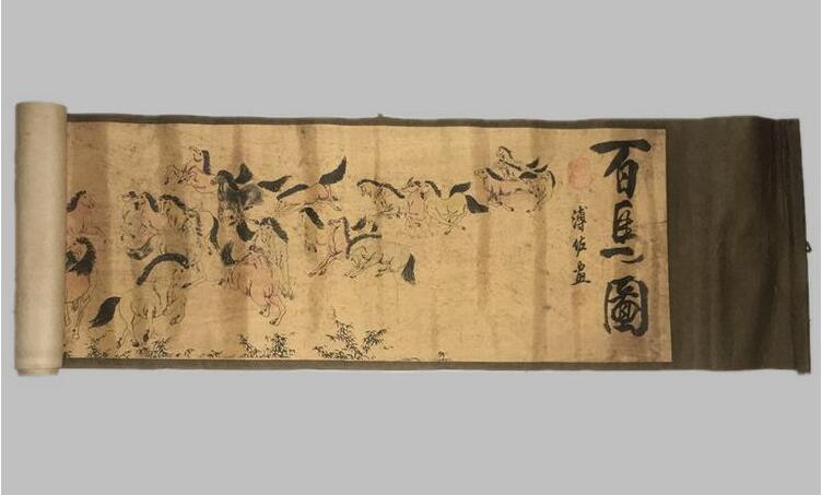 Antique calligraphy and painting calligraphy scroll painting horse figure