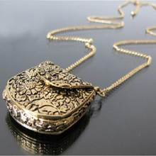 Vintage Necklace Unique Bag Box Shape Choker Carved Locket Pendant Long Chain Necklace Stylish Ornaments Alloy Material Trinket(China)