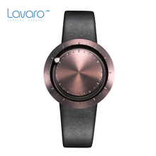 LAVARO Designer Quartz Watch Women With Coffee Case Steel Ball Black Genuine Leather Strap Luxury Wristwatch For Men Ladies Gift