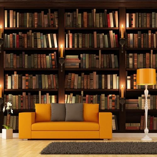 study background 3d tv bookshelf books wallpapers murals fresco mural stereo wholesale many custom