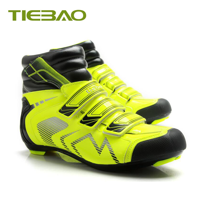Купить с кэшбэком Tiebao winter cycling shoes zapatillas ciclismo carretera nylon sole keep warm cycling sneakers self-locking Snow cycling boots