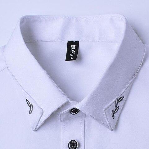 2019 Cocktail Party Men Short Sleeve Shirts Summer Casual Gentleman Dress Shirts New Design Collar Printing Solid Shirts YN10068 Karachi