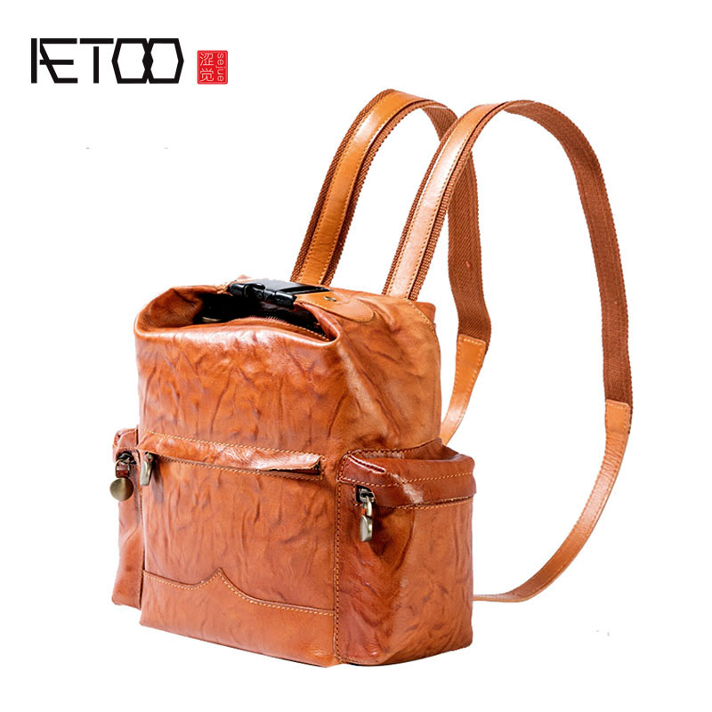 AETOO New leather bag travel bulk suede leather backpack retro art handmade shoulder bag female tide aetoo spring and summer new leather handmade handmade first layer of planted tanned leather retro bag backpack bag