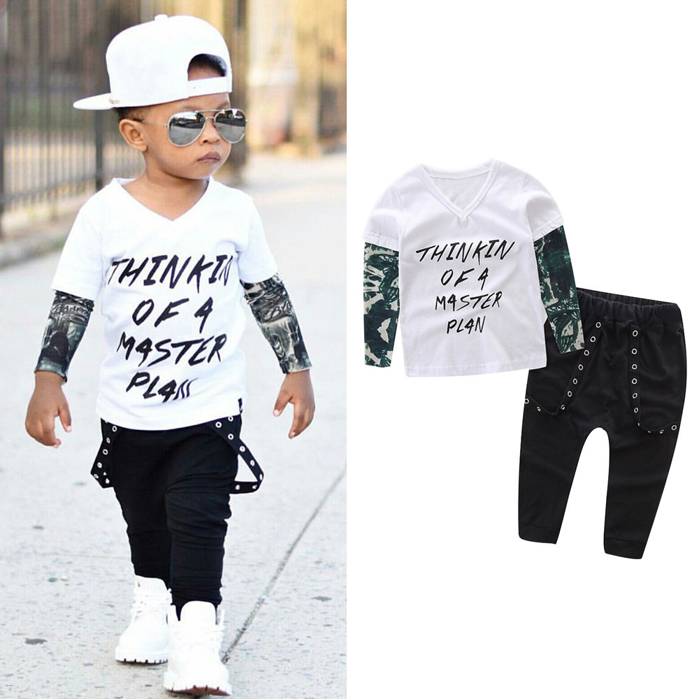 MUQGEW Baby Boy Clothes Newborn Infant Baby Boy Letter Tattoo T shirt Cotton Long Sleeve V-Neck Tops Pants Outfits Clothes Set