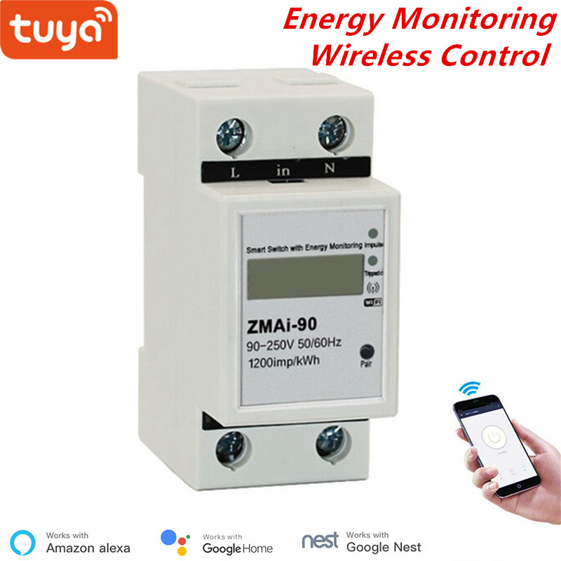 Tuya Smart WiFi Power Consumption Switch Energy Monitoring Meter 110V 220V Din Rail Remote Control Google