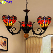 купить FUMAT Dragonfly Tiffany Chandeliers Stained Glass Shade Hanging Light kitchen fixture chandelier pendants for room dining Lamps дешево