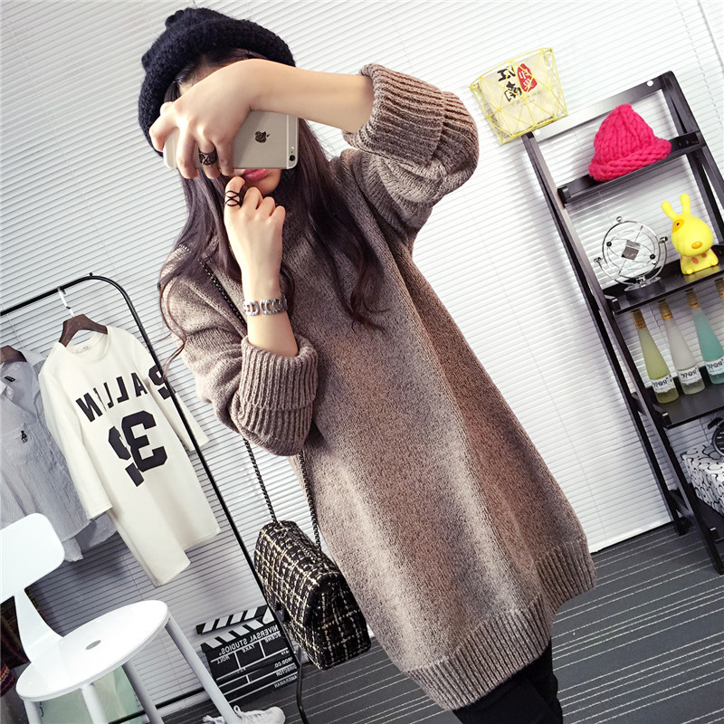 2017 New style Women's Clothing Sexy sweater long women Spring pullovers pull femme oversized sweater feminino High collar loose