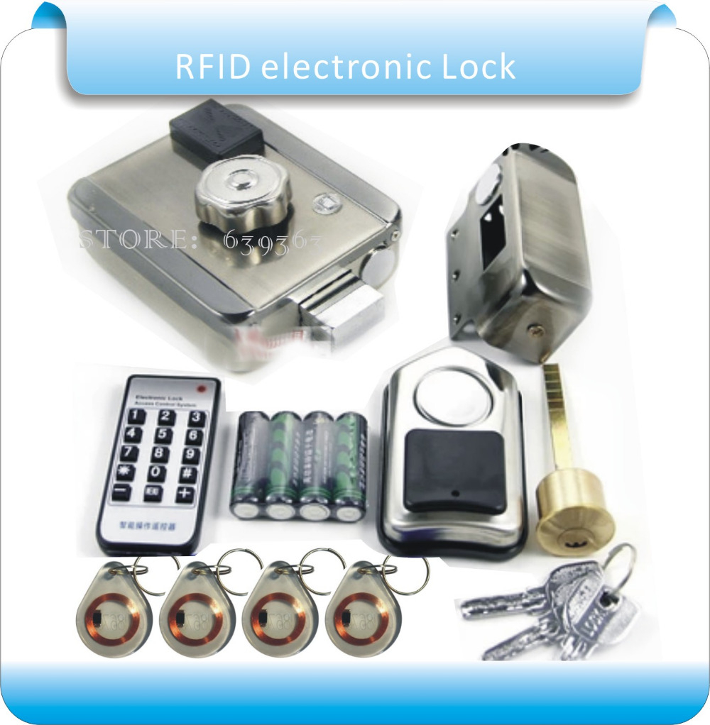Free shipping DIY Battery RFID electronic Door Locks Security Anti theft Lock Multiple Insurance Lock with battery box