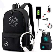2020 اياكس حقيبة ظهر الطالب مع USB شحن ومكافحة سرقة الميزات على ظهره للبنين فتاة العودة إلى المدرسة حقيبة من القماش