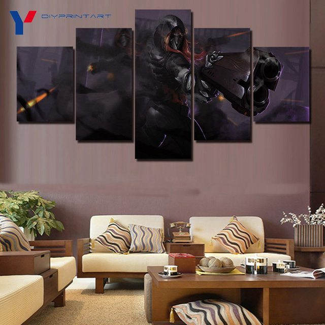 Overwatch Reaper 5 Panels Canvas Art Game Poster Canvas Pictures for Living Room A0369 3