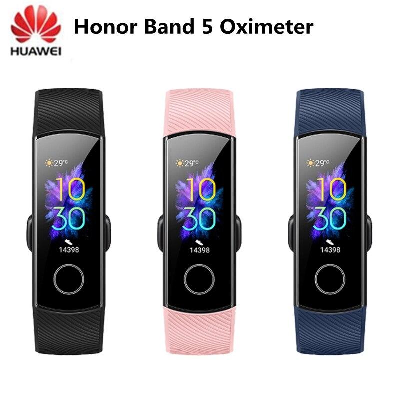 Original huawei honor band 5 pulseira inteligente oxímetro nfc tela de toque de oxigênio no sangue nadar acidente vascular cerebral detectar freqüência cardíaca sono rastreador