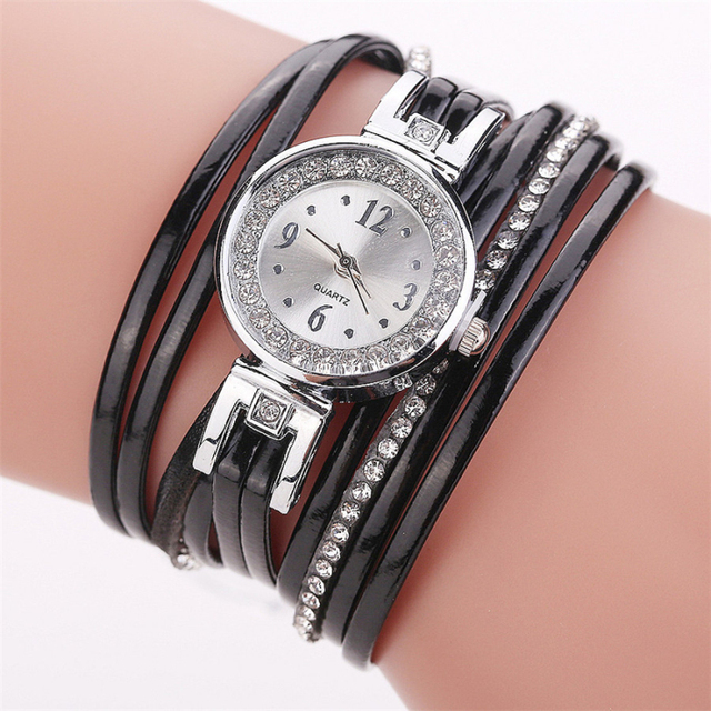 New Fashion Women Thin Multi Layers Quartz Bracelet Watch Leather Weave Wrap Wri