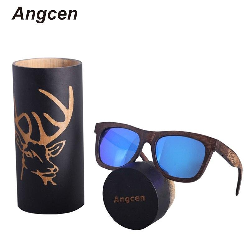Angcen Unisex Polarized Sunglasses Men Women driving glasses Vintage Retro wood bamboo sunglasses Brand designer