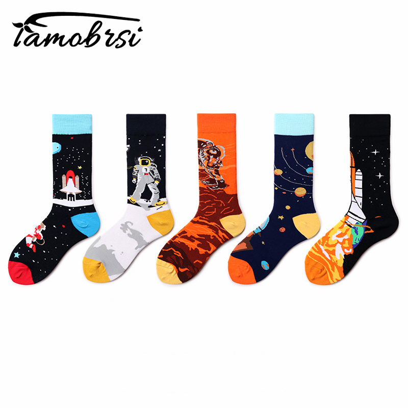 Space Rocket Astronaut Mars Cartoon   Socks   Creative Pattern MenSocks Cool Funny   Socks   Women Cotton Casual Happy   Socks   wholesale
