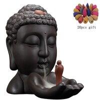Ароматическая горелка с обратным потоком, креативный домашний декор, керамическая Будда, ладан, держатель, буддийская кадильница + 20 шт., бла...