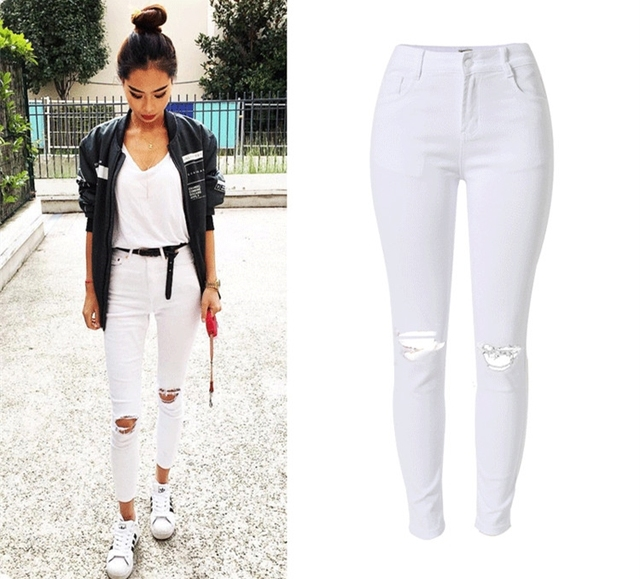 Aliexpress.com : Buy Casual skinny high waisted ripped tassels ...