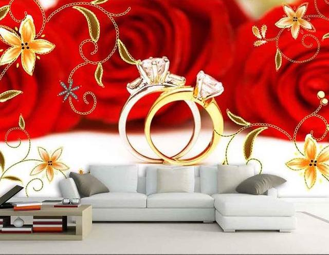 Custom Photo Wallpaper Large 3D Sofa TV Background Mural Wall Red Roses Wedding Ring 3d