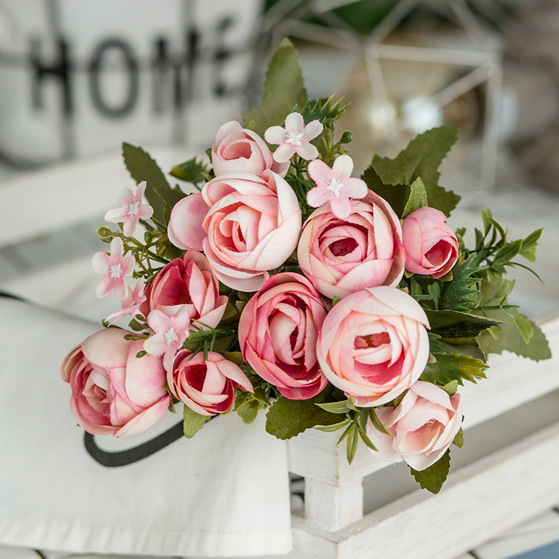 6 Heads Bouquet Rose Decor Artificial Flower Home Decor Imitation Fake Flower for Garden Plant Desk Decor Hand-Holding Flower (3)