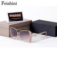 FEISHINI HD fashionable Dress Square Sunglass Brand Designer Luxury Chequered Pattern HD Sunglasses Women Vintage 2017