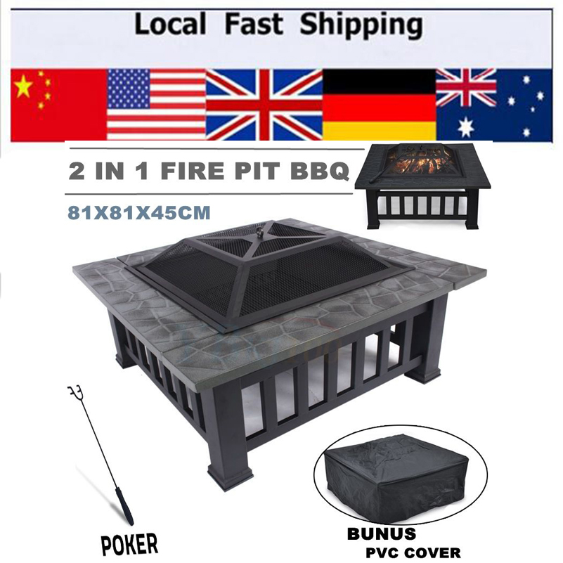 ФОТО Hot Outdoor Fire Pit bbq Grill Table Garden Patio Home Brazier Heater Fireplace Family BBQ