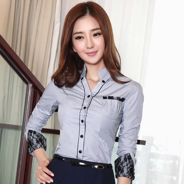 e051115cf € 25.49  Otoño 2016 remiendo de la manera de encaje de manga larga femenina  ropa de trabajo delgada camisa Blusas Camisas ladies'blouses señoras ...