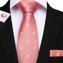 Peach Pink Ties Clip Business Wedding Mens Tie Set Coconut Trees Pattern Corbatas Dress Fashion Accessories Men Necktie MJ-7080