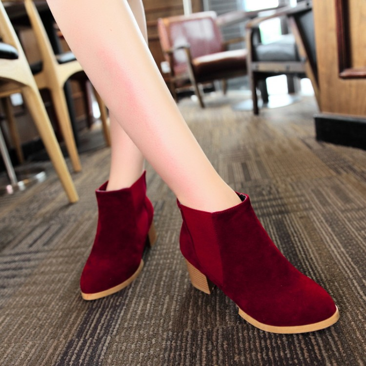 women boots 2015 autumn and winter high heels round toe shoes woman soft leather England styel martin boots plus size 34-43Y88