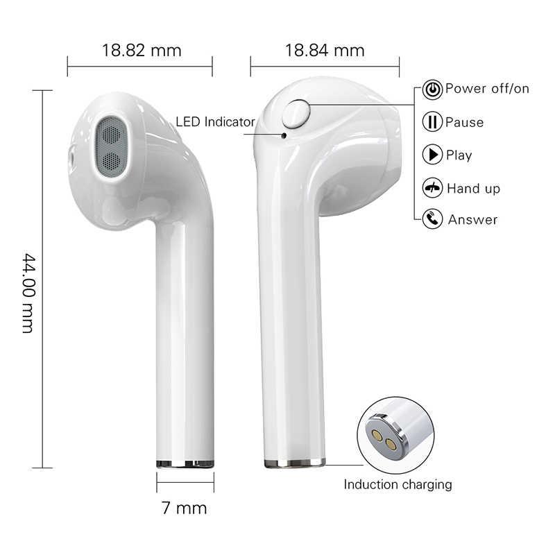 T7 TWS bezprzewodowa Mini słuchawka do iphone'a Bluetooth z etui z funkcją ładowania Stereo Sport z mikrofonem słuchawki douszne Hifi