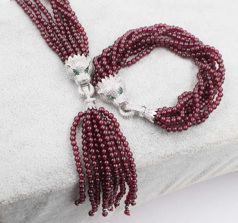 4rows garnet red 3mm round beads stone 3mm leopard necklace bracelet 7.5inch FPPJ FPPJ polyresin round beads necklace 46 49cm 5 pack