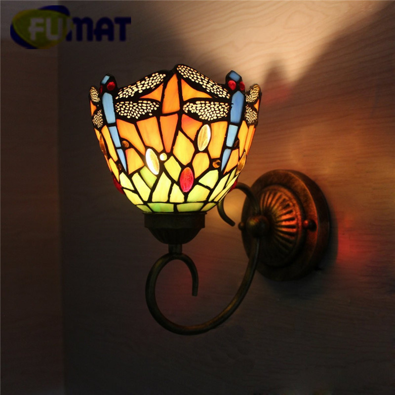 """FUMAT Tiffany Wall Lamp LED Sconces Stained Glass Luminaria Corridor Light Dragonfly Mirror Front Lamp E14 6"""" Passage Wall Light-in LED Indoor Wall Lamps from Lights & Lighting"""