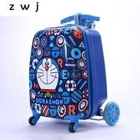 Дюймов 18 дюймов детский дорожный интернат чемодан тележка Сумка скутер чемодан складной скейтборд чемодан
