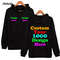 Custom Zipper Hoodies Logo Text Photo Print Men Women Personalized Team Family Customize Sweatshirt Promotion AD