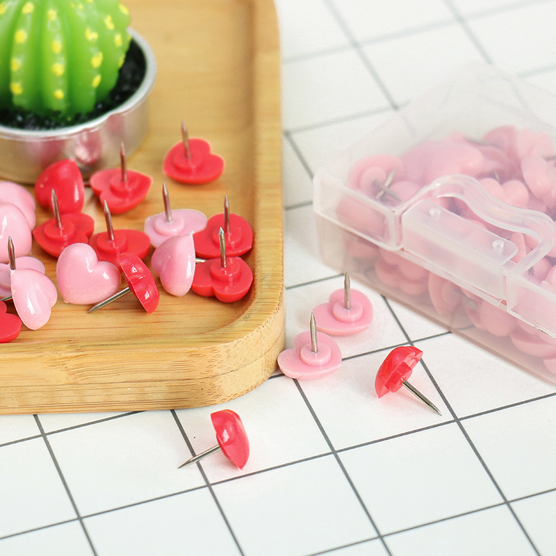 TUTU Heart shape 50pcs Plastic Quality Cork Board Safety Colored Push Pins Thumbtack Office School Accessories Supplies H0001 5